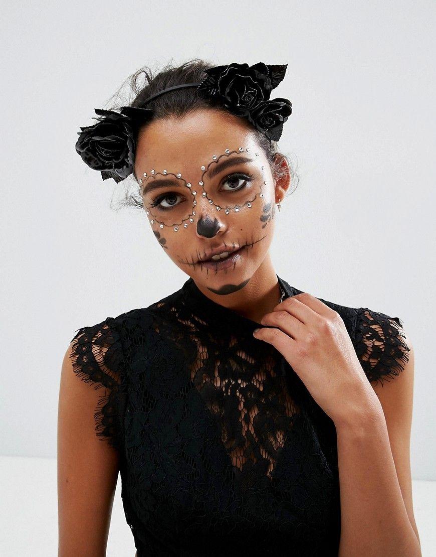 ASOS Halloween Faux Leather Floral Garland Headband