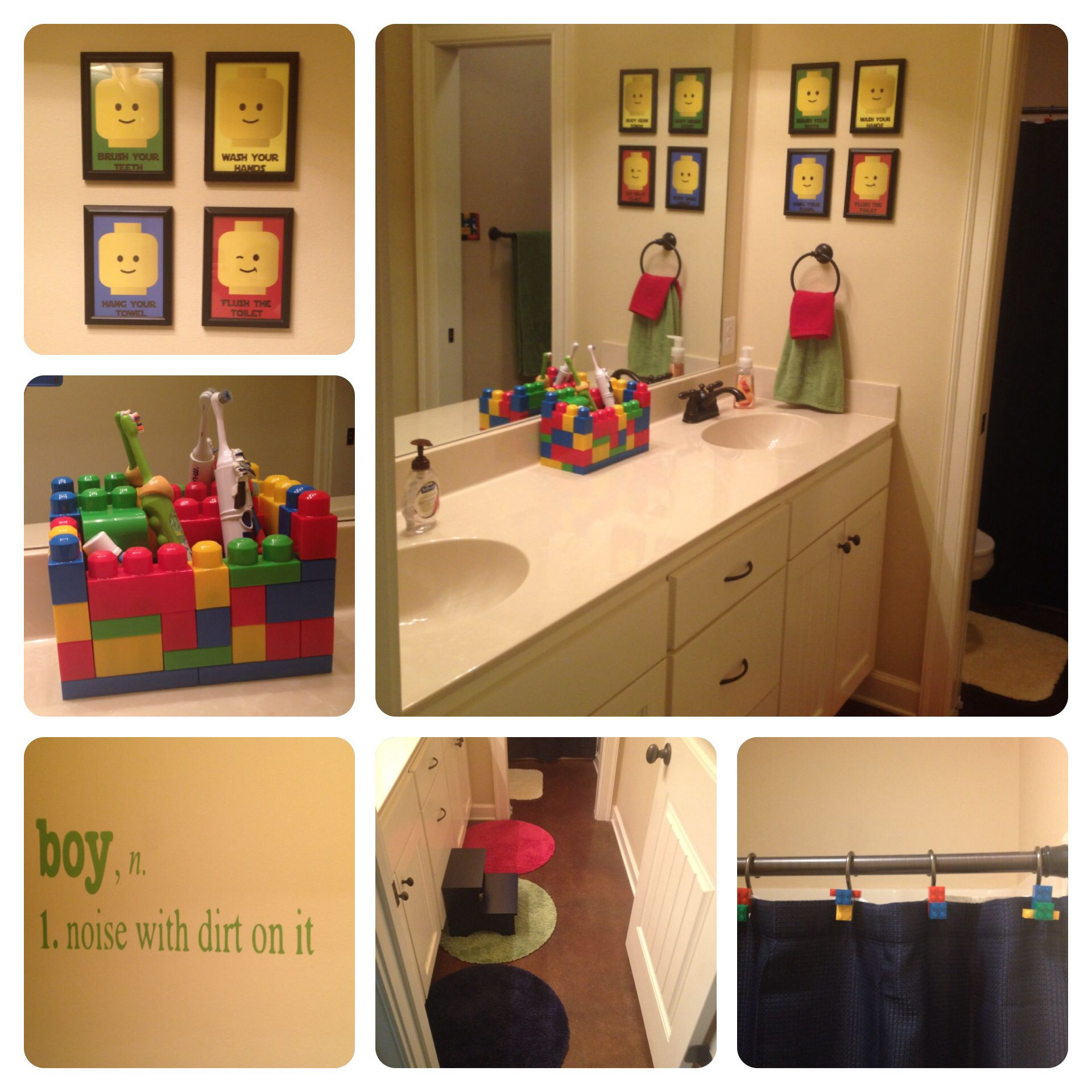 lego bathroom. rugs from target. legos hot glued to shower curtain