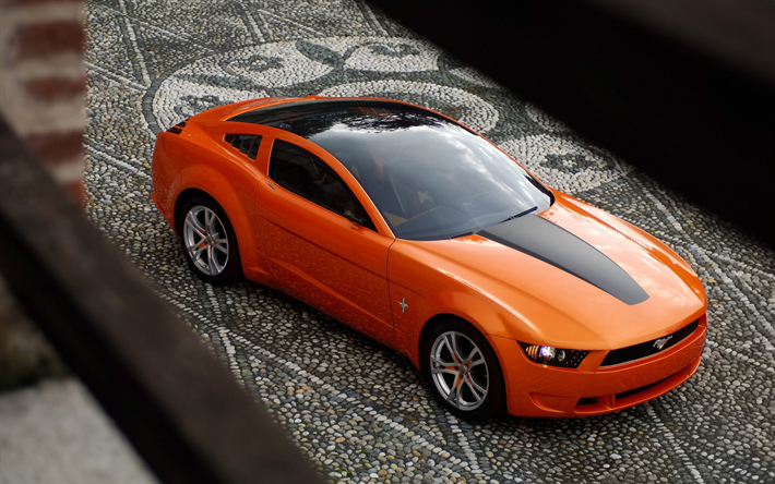 Download Wallpapers Ford Mustang Giugiaro Exterior Orange Sports Coupe Concept Front View Orange Mustang Ford Besthqwallpapers Com 2006 Ford Mustang Ford Mustang Mustang
