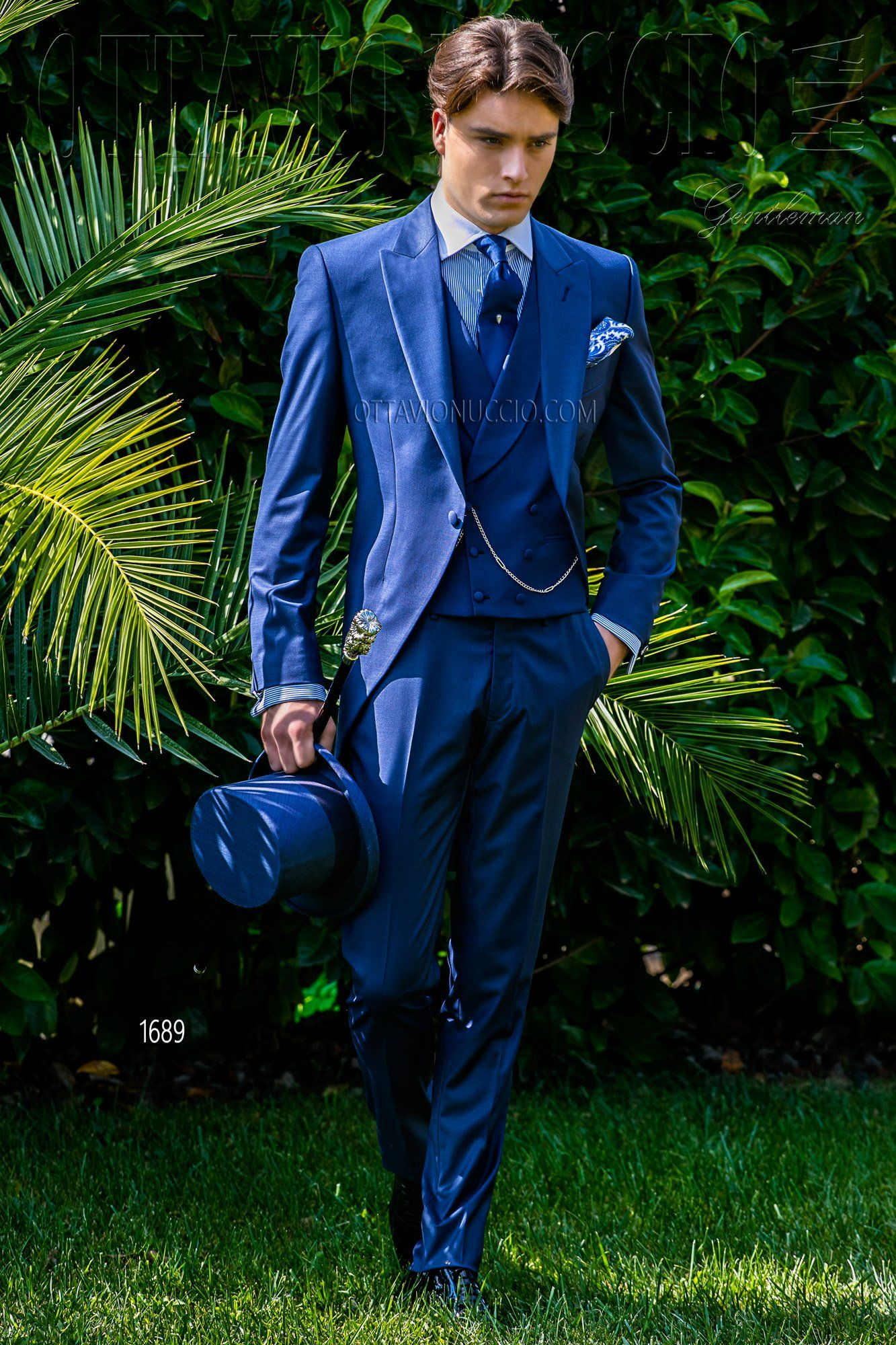 Royal Blue Peak Lapel Morning Suit Wedding Suits Groom Morning