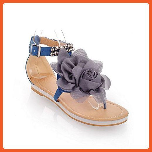 VogueZone009 Women's Soft Material Buckle Split Toe Low-heels Solid Flip-Flop-Sandals, Blue, 31 - Sandals for women (*Amazon Partner-Link)