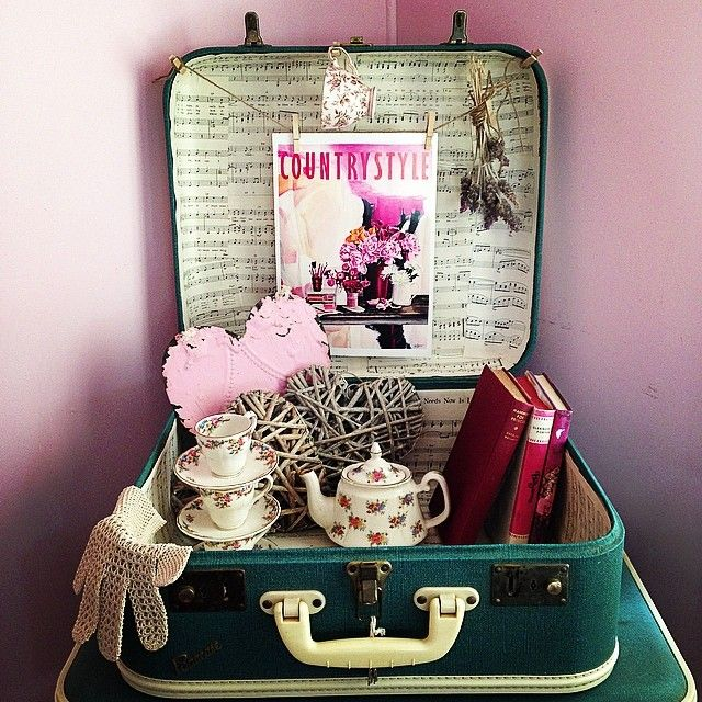 #countrystylelovespaint @countrystylemag #love #vintage #suitcases #teapot #teacup #book #heart #sheetmusic #lavender by cathy.riley