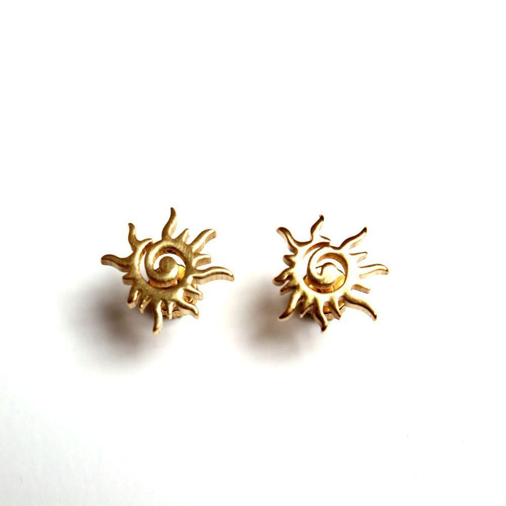 7b7bcb397d0 316L Surgical Steel Ear Piercing Gold Burning Sun Earrings Stud Helix Men  Women