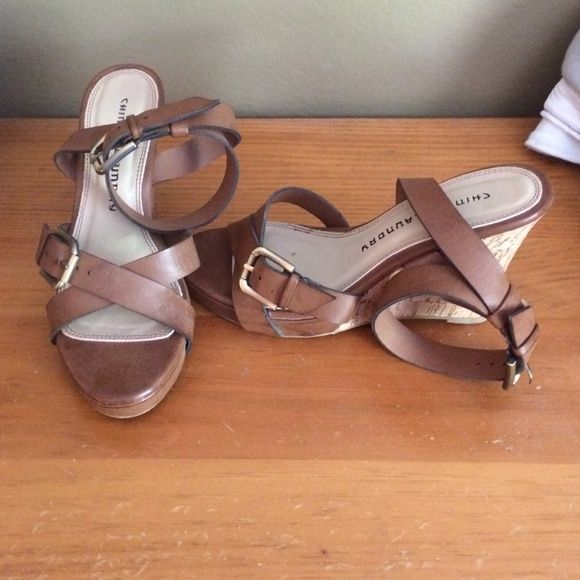 Chinese laundry size 5.5 leather wedges Size 5.5 ankle strap wedges, worn once Chinese Laundry Shoes