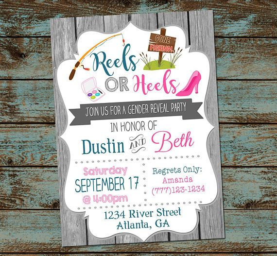 Reels or Heels Gender Reveal Party Invitation, Fishing Gender Reveal, Boy or Girl, Baby Gender Reveal, DIY Digital Invitation