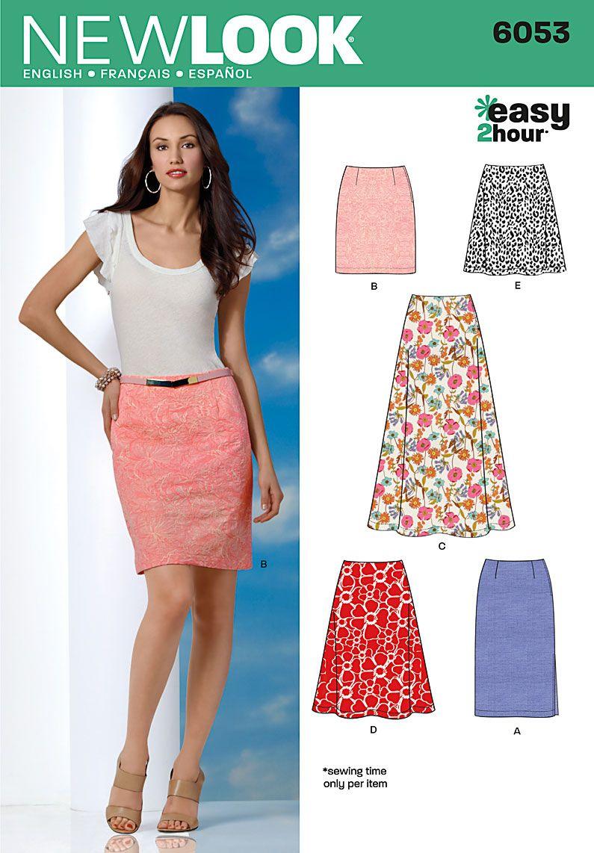 New Look 6053 Misses\' Skirts | Nähe, Nähideen und Nähen