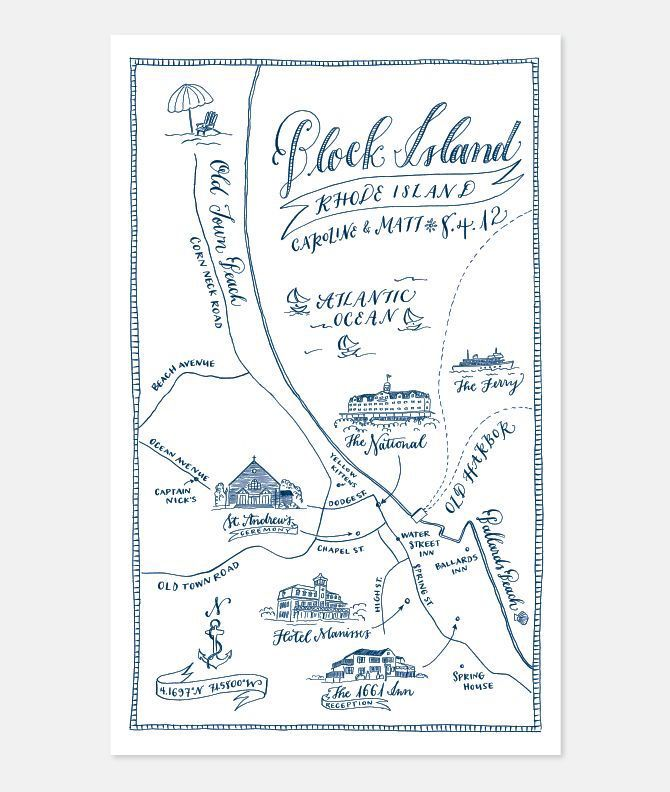 Rhode Island Wedding Invitation Printed: 19 Map-Inspired Wedding Invitations