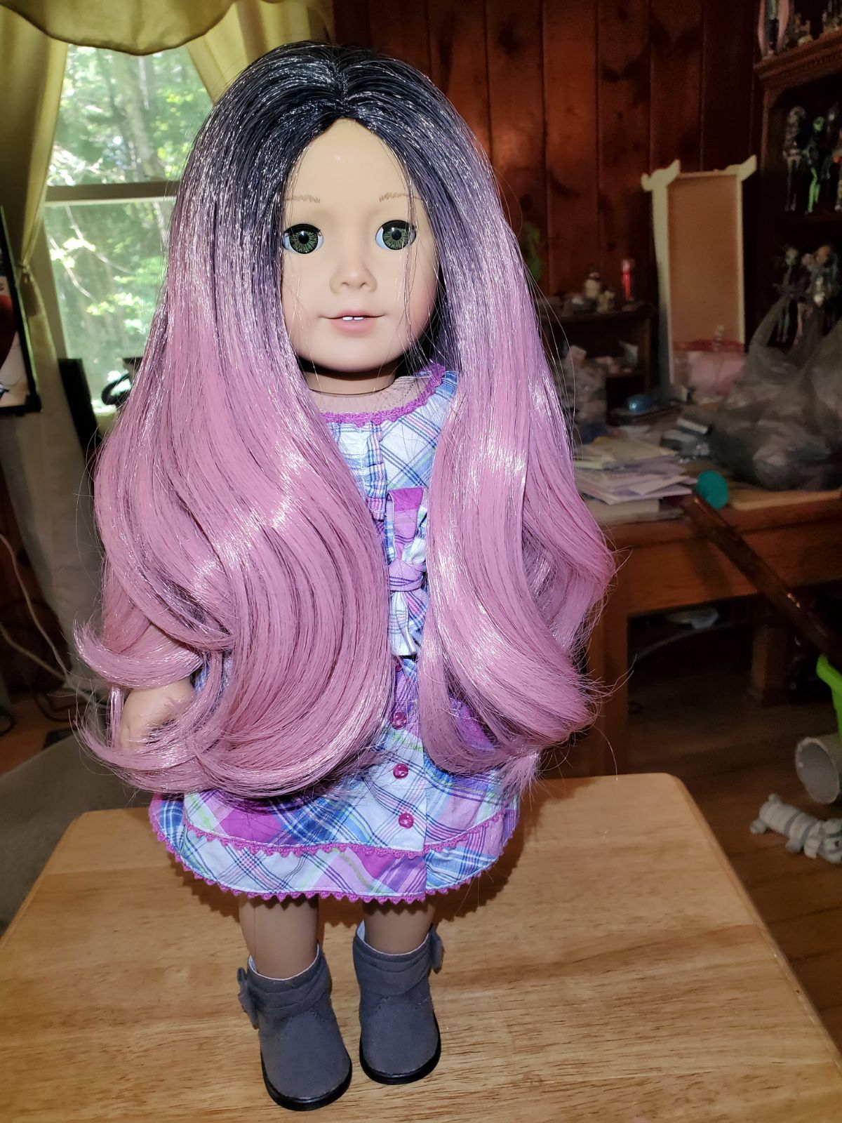 American Girl Isabelle with an EDD pink Hombre wig and