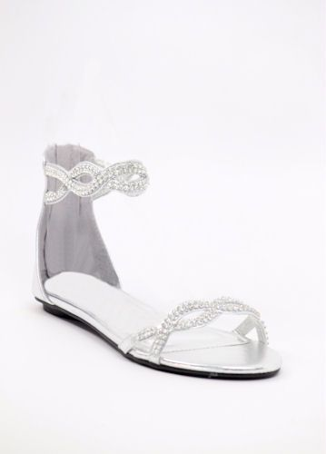 2f8040a78 Flat Sandal Wedding Shoes Silver wedding shoes flat Bridal Flats