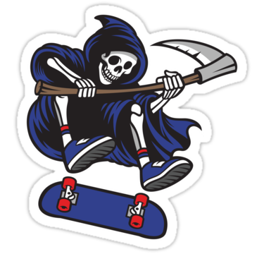 'Skateboarding Grim Reaper' Sticker by nolamaddog -   - #bodyillustration #Grim #minertattoo #nolamaddog #Reaper #Skateboarding #Sticker