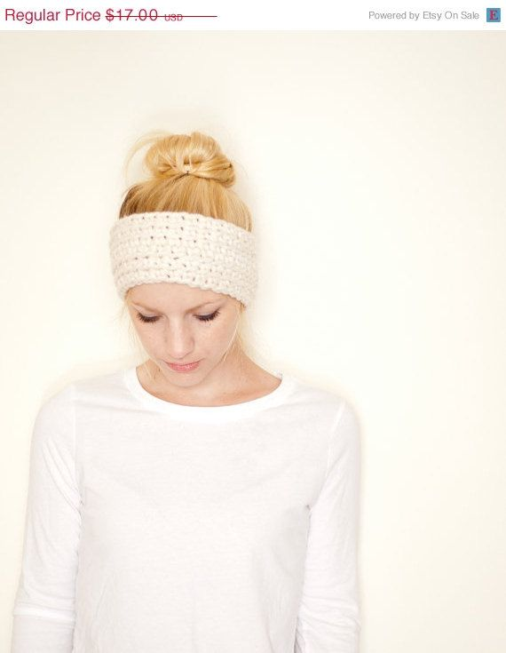 SUMMER SALE Crochet earwarmer headband - cream on Etsy, $14.96