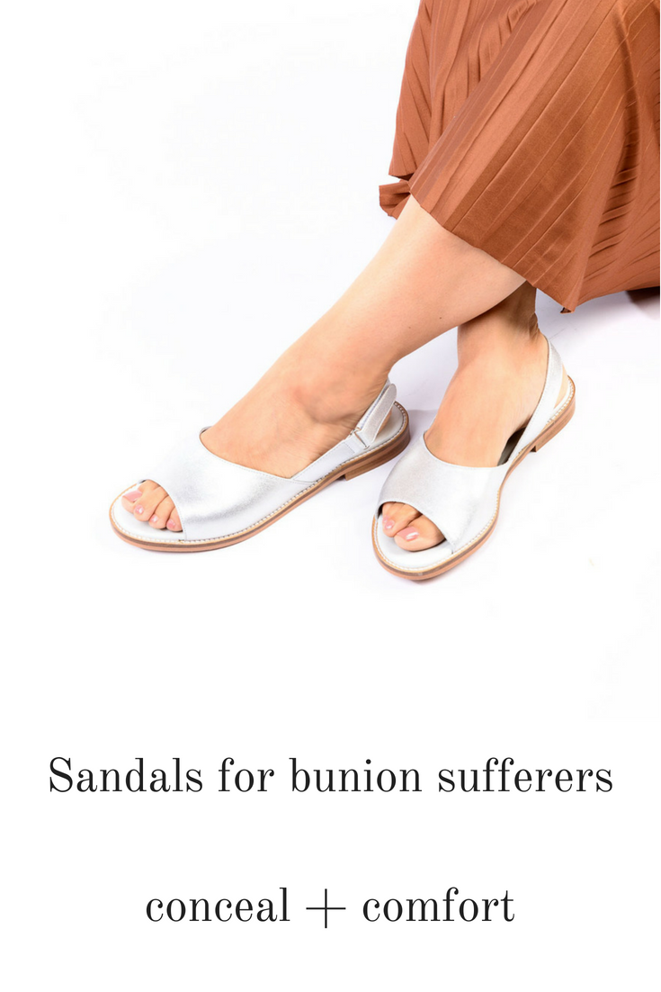 799c14b3c01e6 Sandals for bunion sufferers! This fab flat sandal in silver leather  features a back strap that holds your foot in place and is suitable for up  to large ...