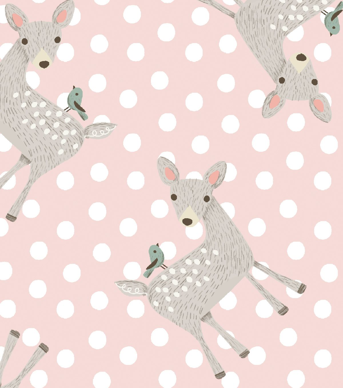 Flannel Fabric Dots Deer On Pink