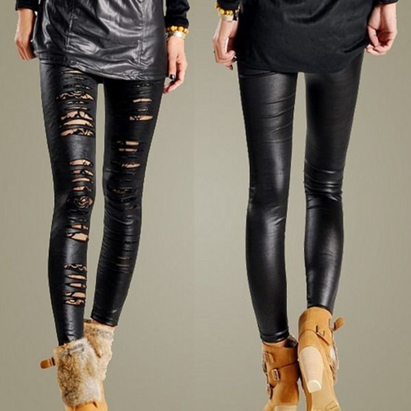 02968b2cd9d35 Soobest Women Ripped Torn Sexy CutOut Stretch Leather Shiny Legging Pants  Tights | eBay