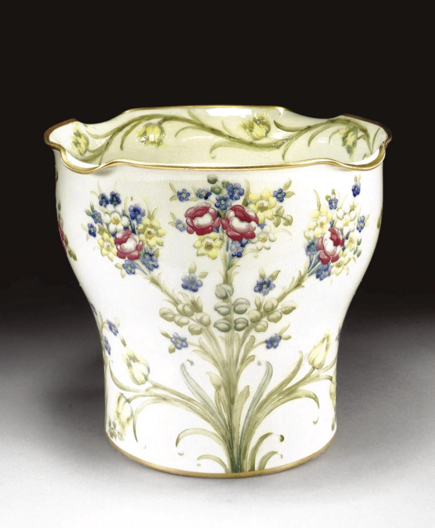 Roses tulips and forget me nots a jardinire by william roses tulips and forget me nots a jardiniere by william moorcroft for james macintyre company circa 1907 reviewsmspy