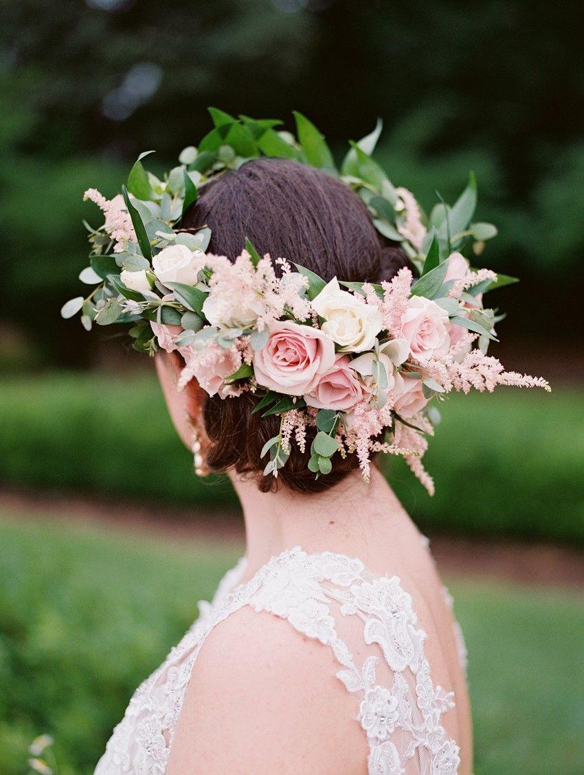 A Bright Beautiful Boho Vintage Garden Wedding Chic Vintage Brides Blush Champagne Wedding Boho Wedding Crown Pink Bridal Crown