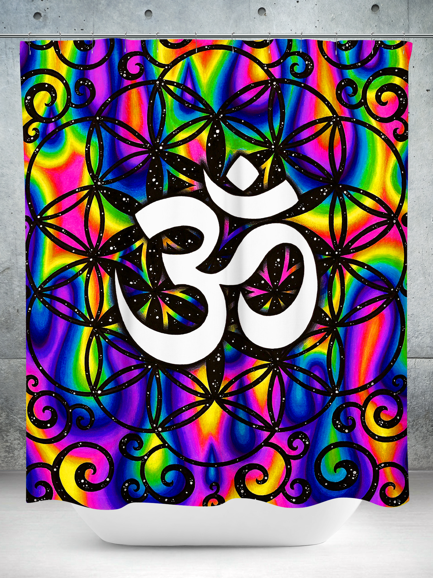 Trippy Om Shower Curtain With Images Tapestry Curtains Shower Curtain