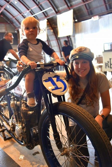 Flat track racer Brittney Olsen with her son and her Harley racer (Photo: Vicki Smith/Gizm...