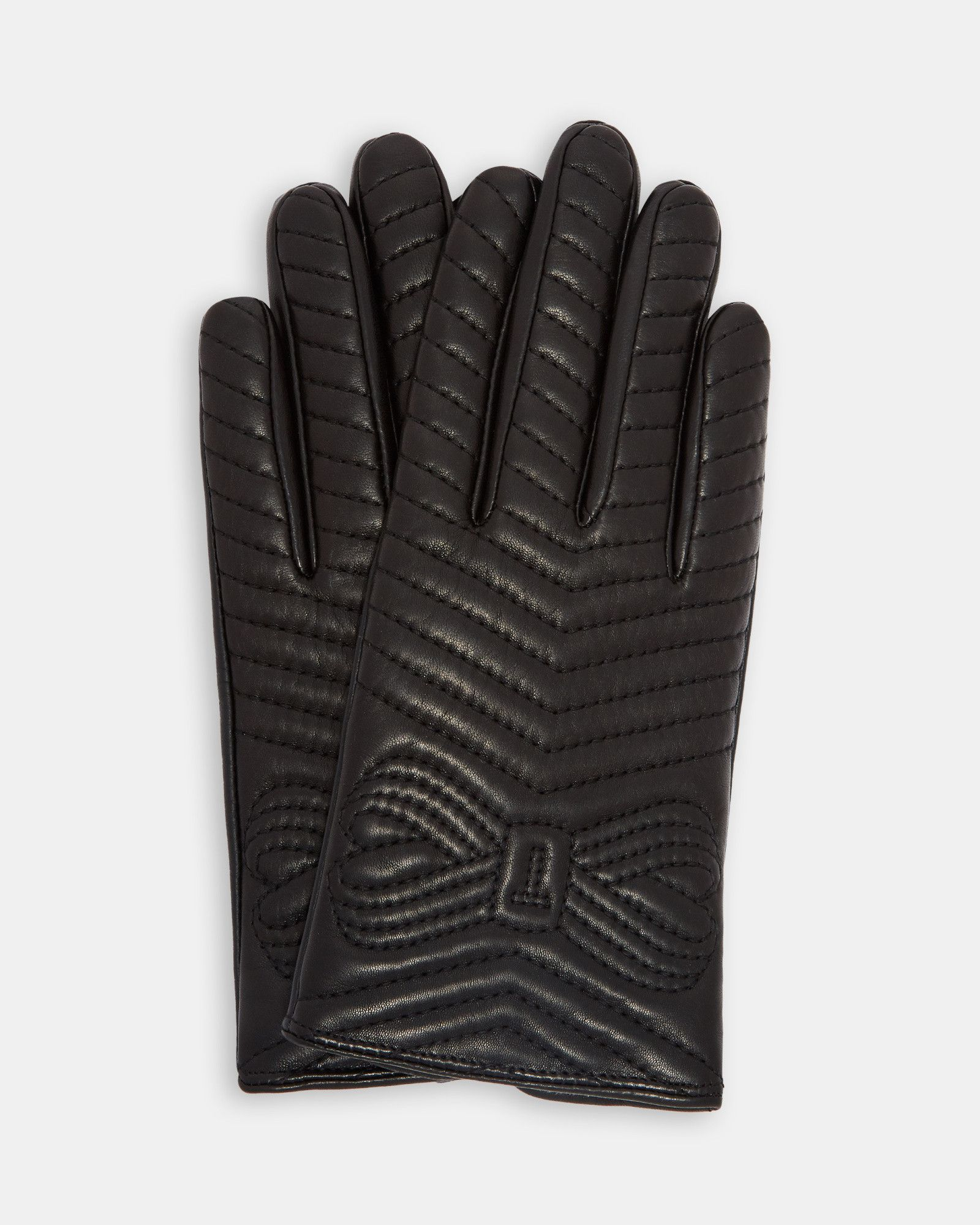 Ted Baker Quilted bow leather gloves Black