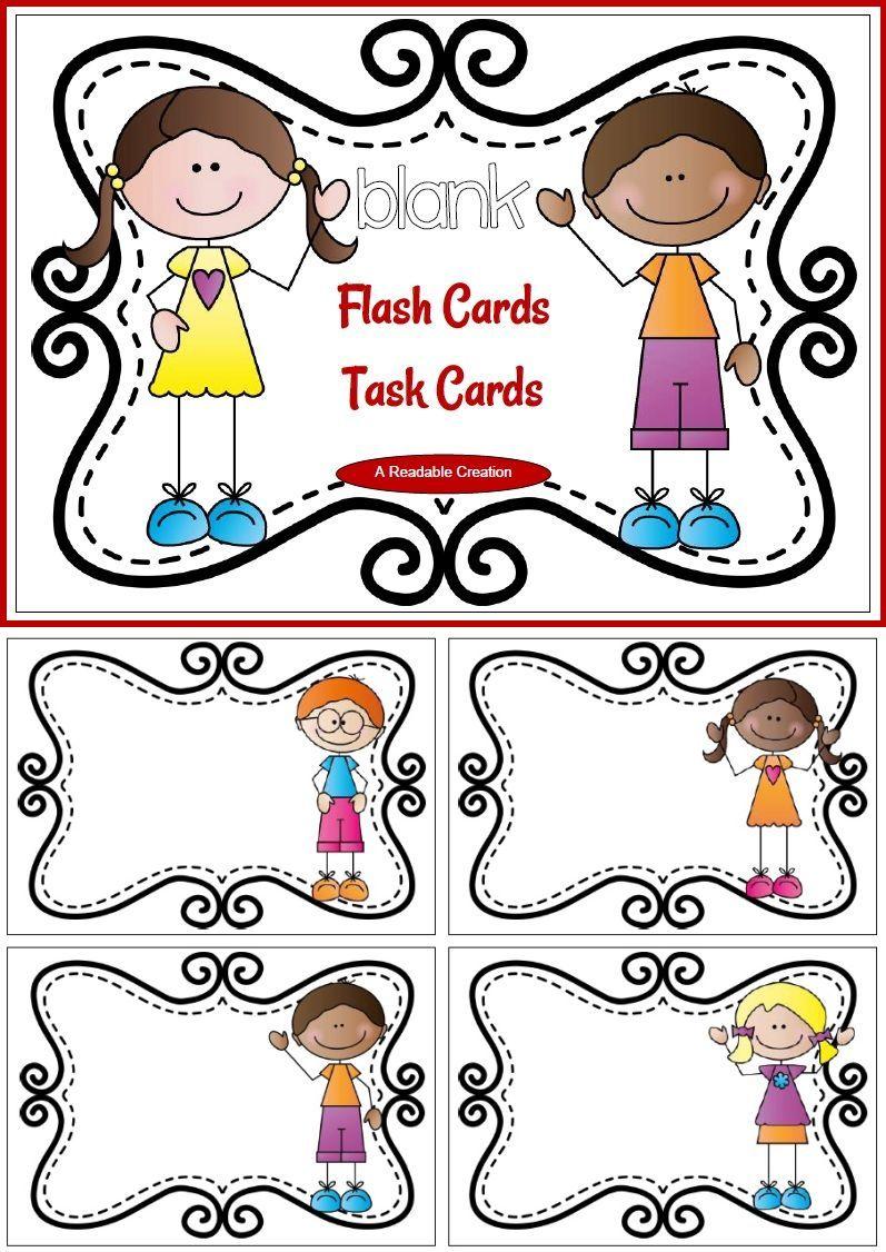 Blank Flash Cards - Task Cards {Freebie} | Pinterest | Etiquetas ...