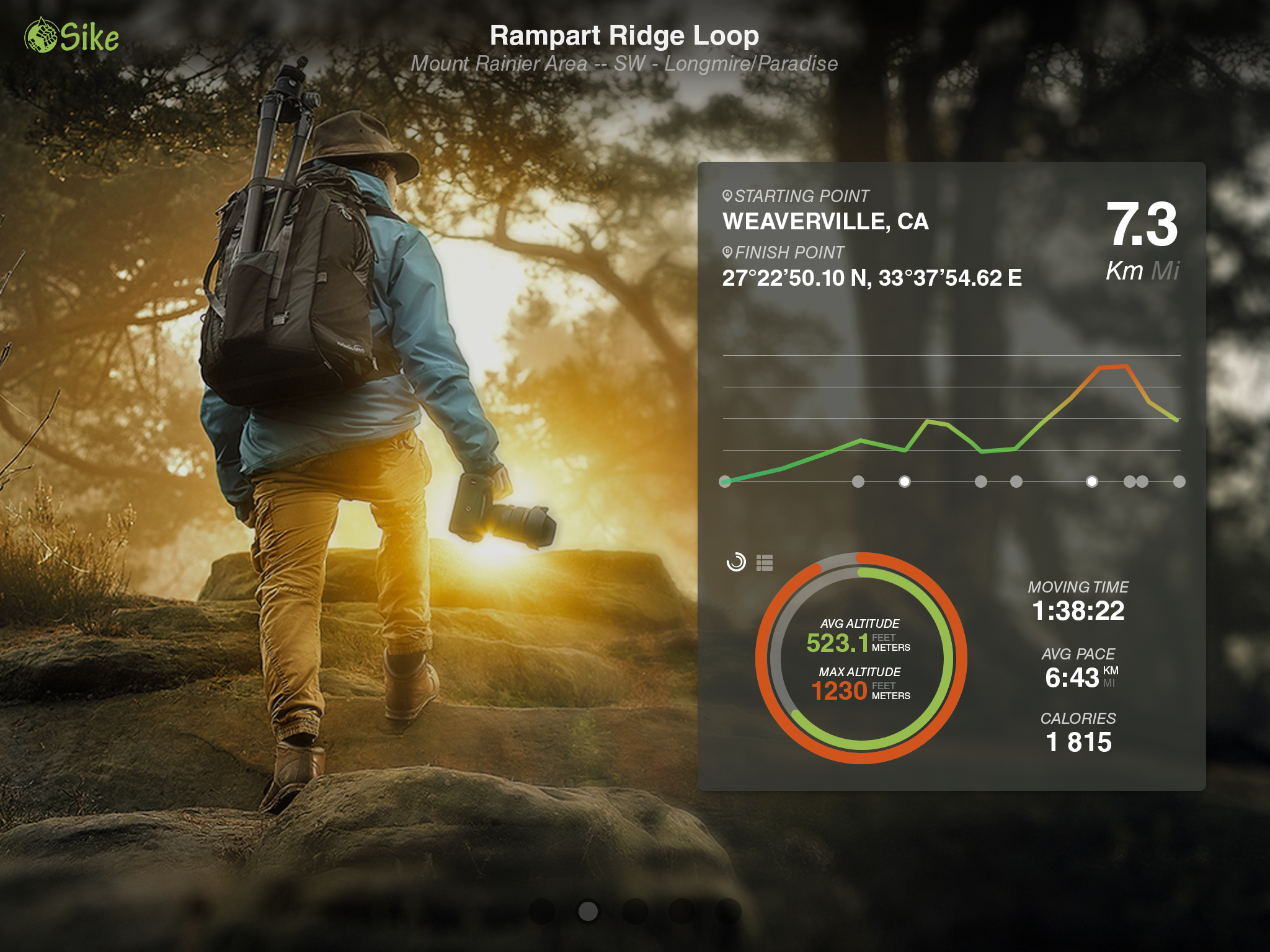 Hiking Appp UI Mock Screen. This was done as a poroof of concept, by combining Photo ALbums/sharing with Strava like statistics. concept/Desgin done by me. Share, Comment, spread the love! :)