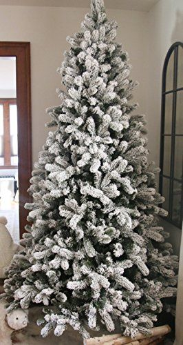Decor The 7 5 Foot King Flock Unlit Artificial Christmas Tree Freshly Fallen Flocked Artificial Christmas Trees Frosted Christmas Tree Fake Christmas Trees