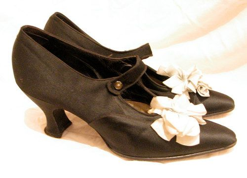 """Black Silk Over Canvas And Leather Shoes With Silk Baby Blue Pom-Pom Ribbon, Glass Buttons On The Strap And """"Louis The 16th"""" Heel c. Early 1920's - Etsy"""