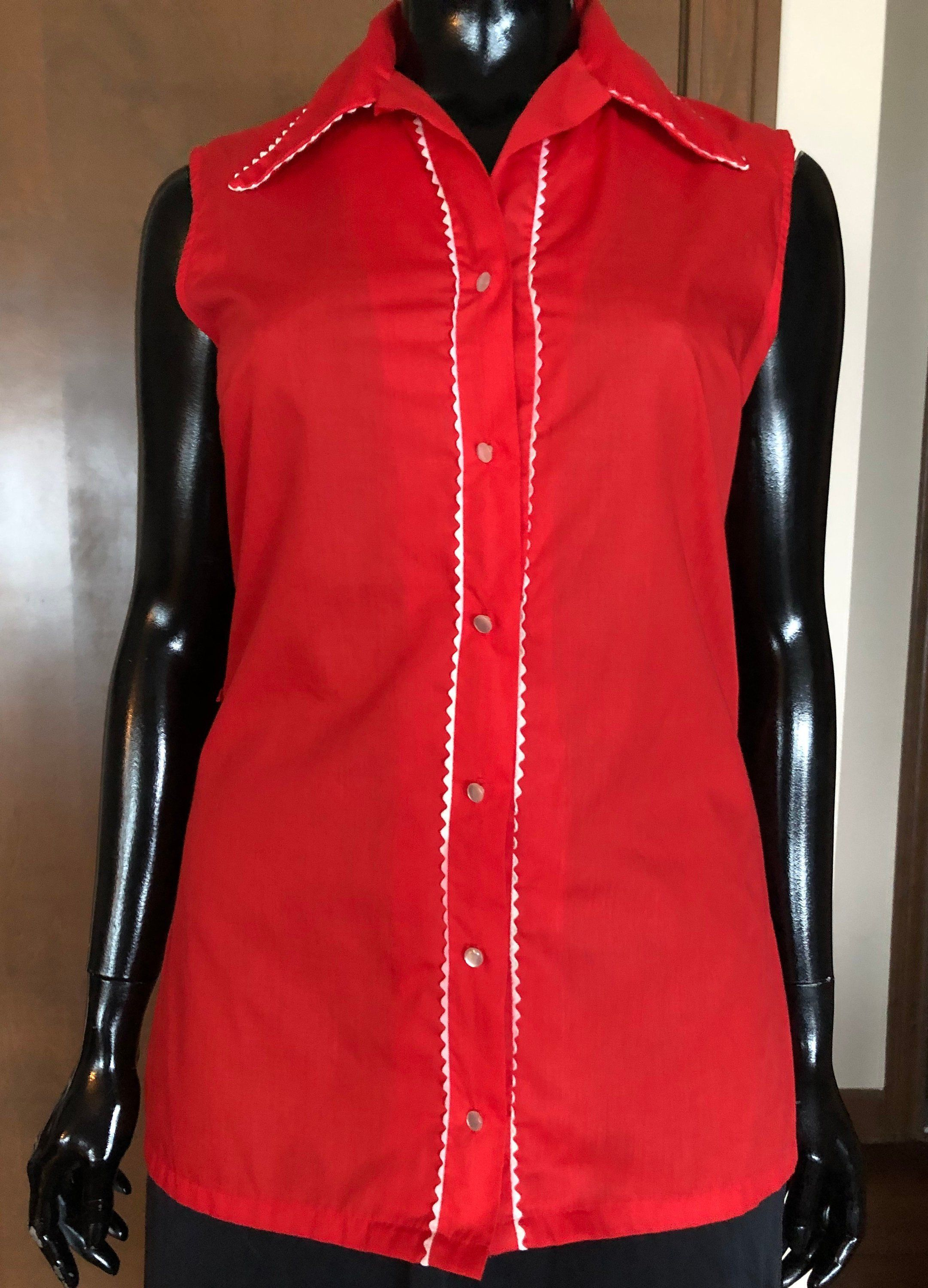 1960s Blouse Rockabilly Red Blouse