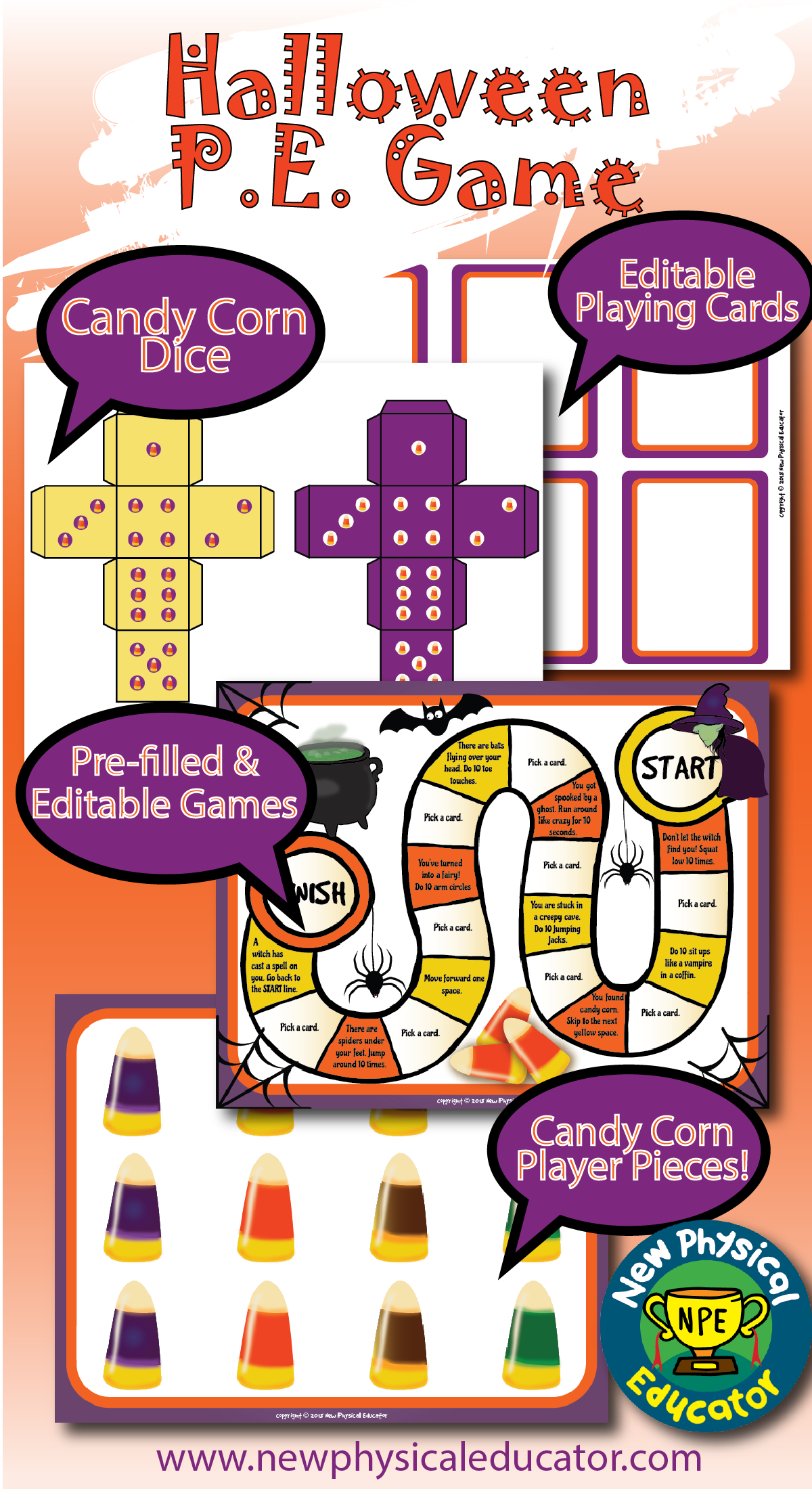 Halloween Day Board Game For Physical Education