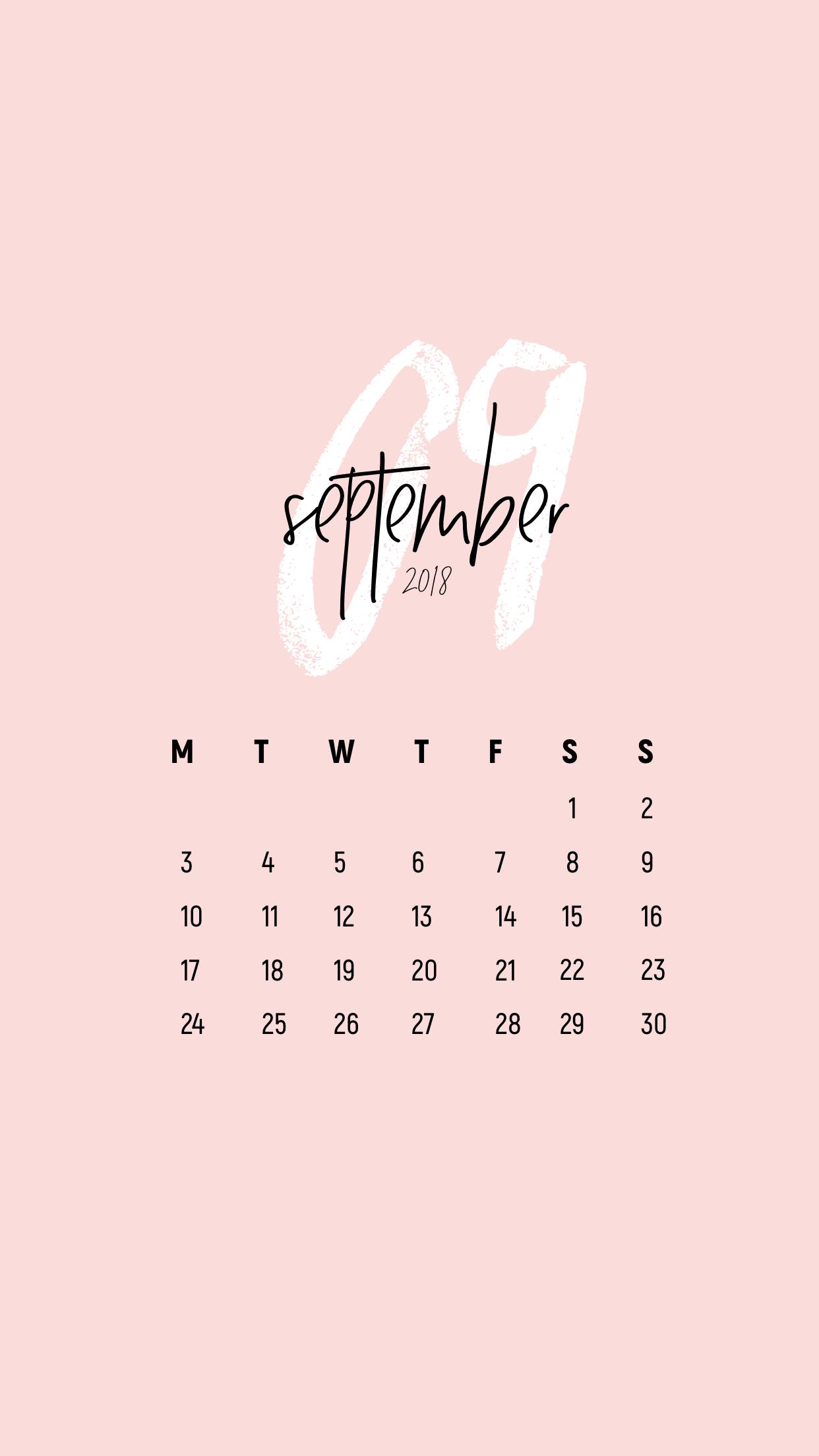 Minimal September 2018 Calendar Wallpaper Iphone Raquel Calendar Wallpaper Desktop Wallpaper Calendar Desktop Calendar Design