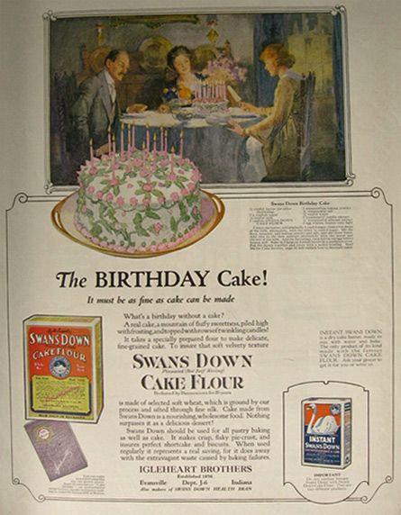 Sensational 1921 Swans Down Flour Ad Birthday Cake Recipe Vintage Baking Birthday Cards Printable Trancafe Filternl