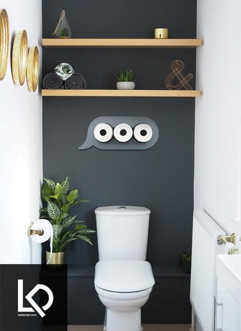 Photo of Texting Bathroom Wall Art and Storage