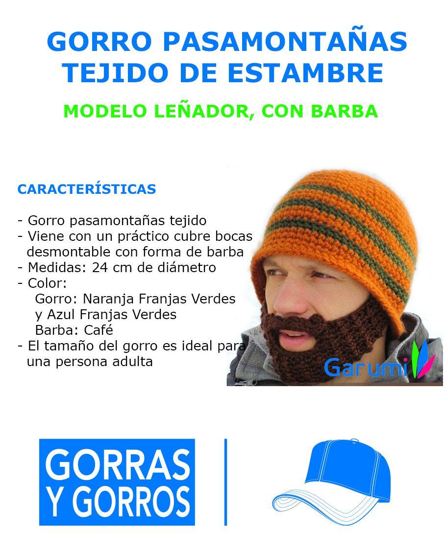 W1007 Gorro Pasamontañas Estilo Leñador Con Barba Tejida - $ 119.00 ...