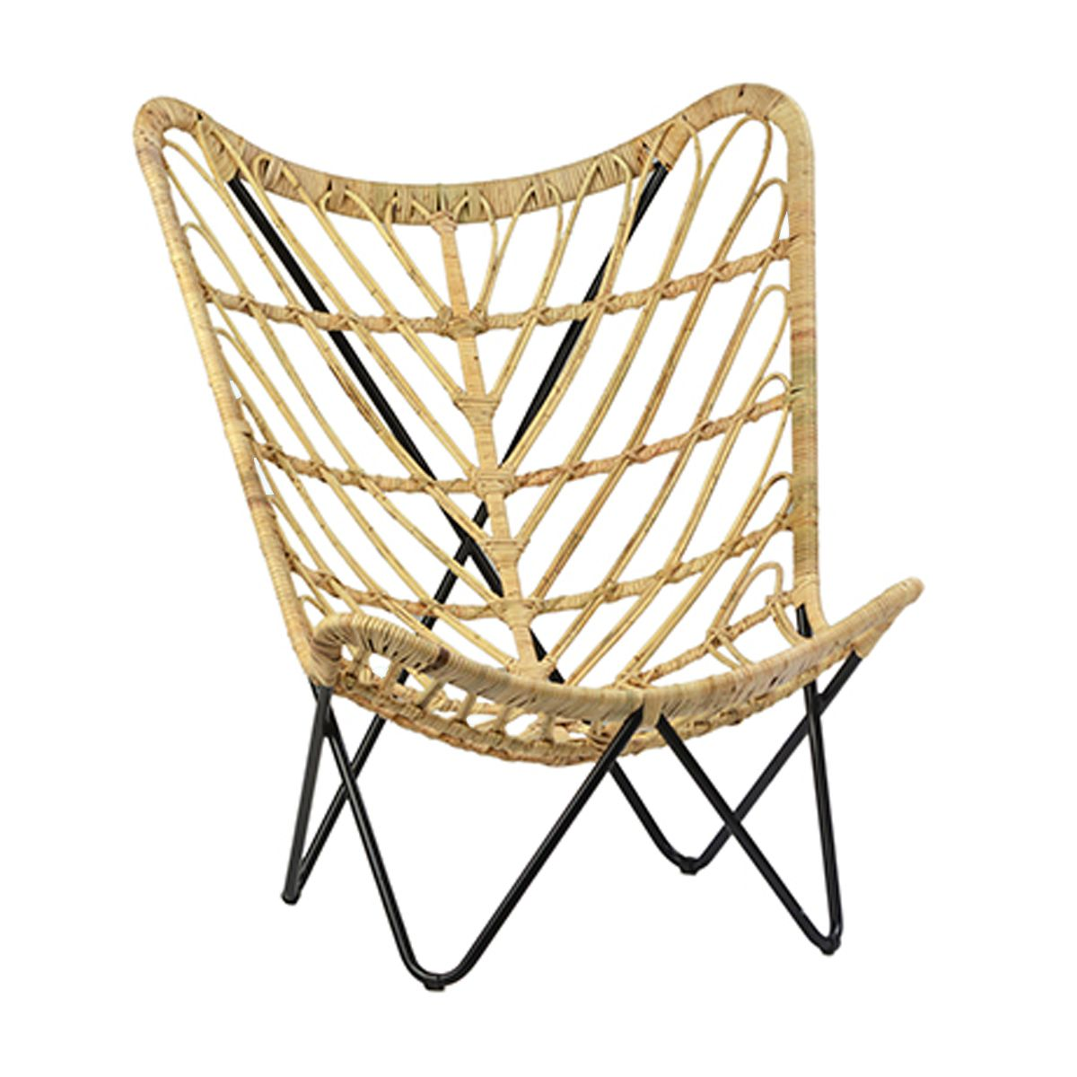 Strange Rattan Butterfly Scoop Chair With Black Matte Iron Frame Uwap Interior Chair Design Uwaporg