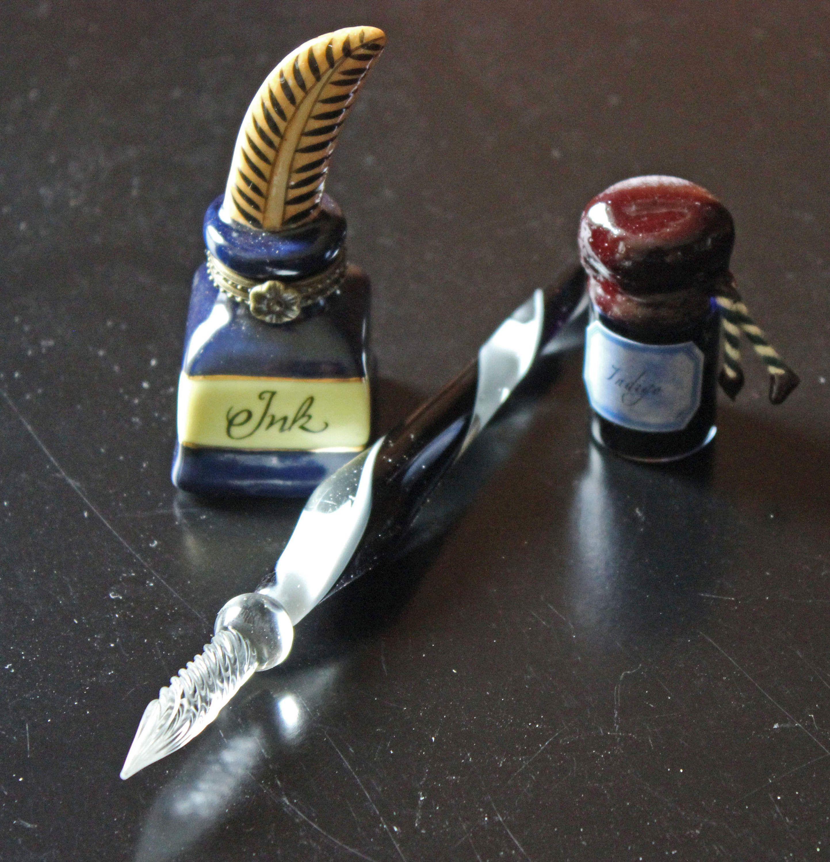 Glass Pen Set 3 Pieces Madame De Pompadour Ink Box with Glass Pen Indigo Ink Beautiful Presentation Box By Authentic Models Xcellent Conditn by PastThatLasts on Etsy