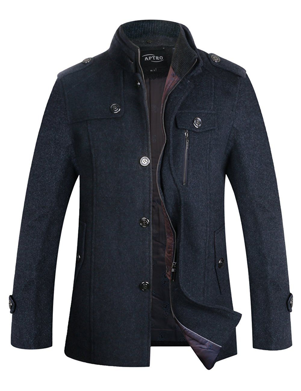 f2dd83e27 APTRO Men s Winter Slim Fit Wool Coat Single Breasted Wool Peacoat ...