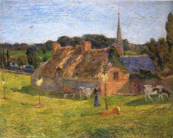 Paul Gauguin - 1886, Le champ Lollichon et l'église de Pont-Aven