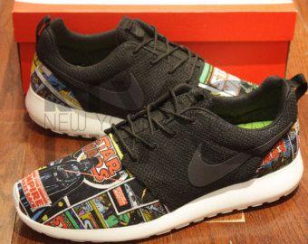 21e297fa6b81 Nike Roshe Run Black White Disney Villains Maleficent by NYCustoms ...