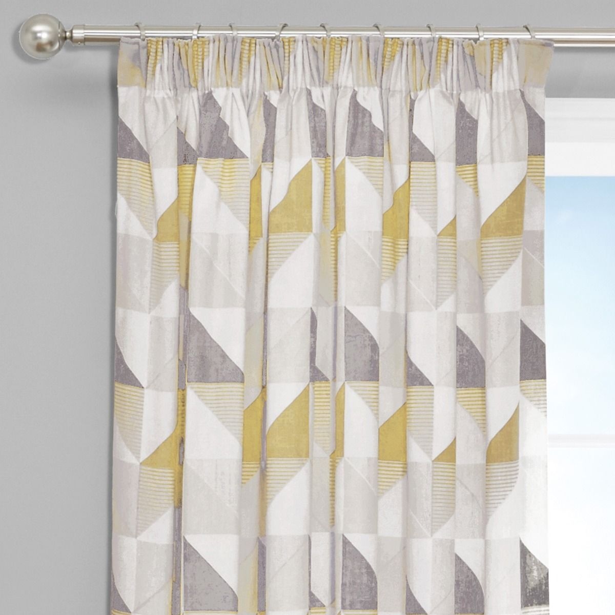 Delta Grey Yellow Luxury Lined Pencil Pleat Curtains Pair