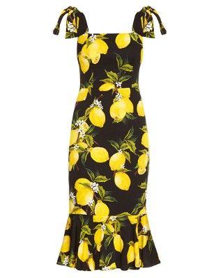 1f5cf273f91 Dolce   Gabbana Lemon-print fluted-hem straps dress