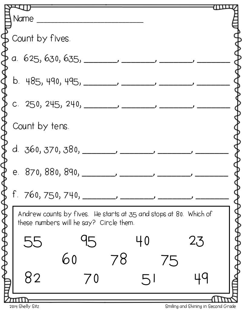 Page 5 Of 6 Classroom Skip Counting 3rd Grade Math Worksheets   2nd grade  math worksheets [ 1035 x 800 Pixel ]