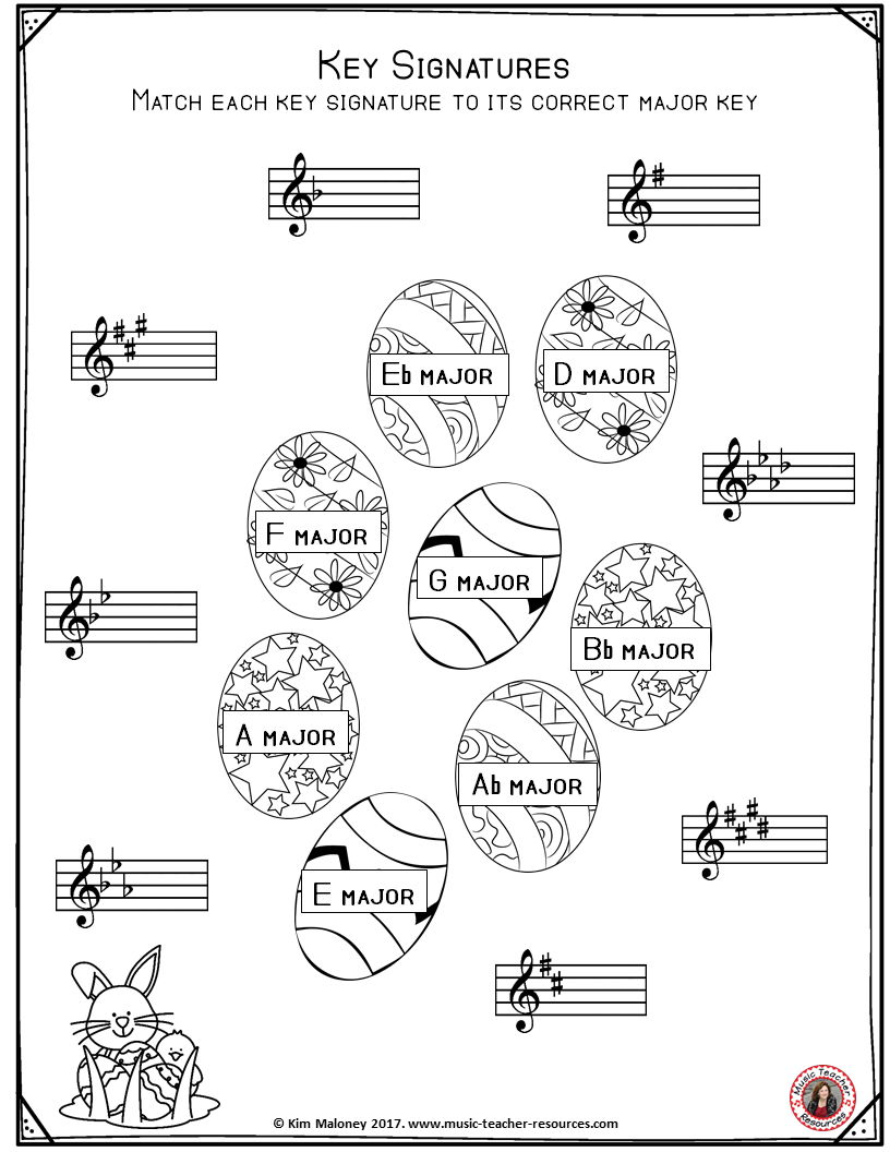 Worksheets Key Signature Worksheet free music worksheet key signature worksheets with an easter theme click and download