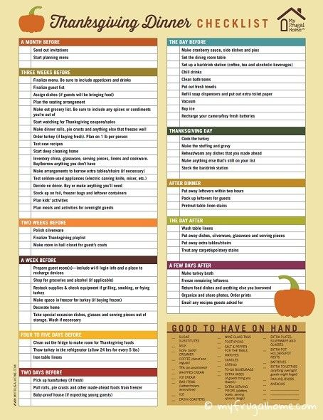 Thanksgiving Dinner Checklist Everything You Need To Do To Get Ready For Thanksgiving Broken Up Into Manageable Steps