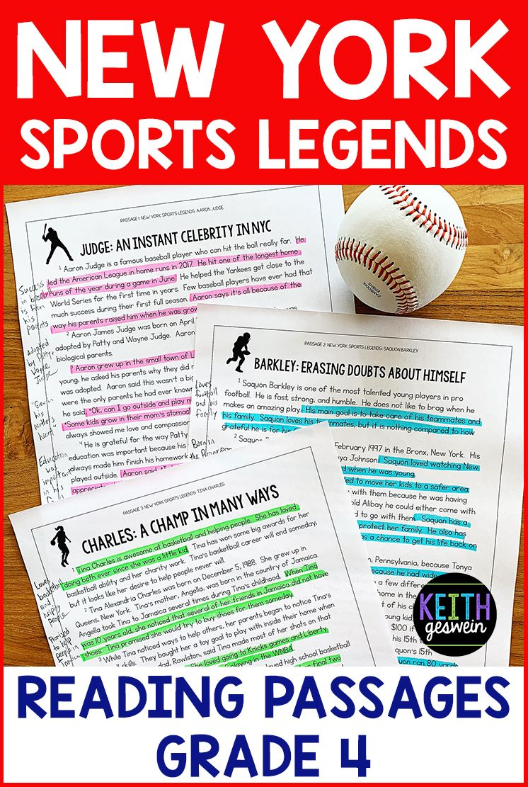 New York Sports Legends Paired Passages Grade 4 Distance Learning Paired Passages Nonfiction Passages Paired Texts [ 1111 x 746 Pixel ]