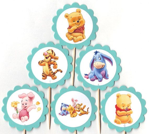 Baby Winnie The Pooh And Friends Cupcake Toppers Birthday Party Decorations Set Of 12 Tigger Eeyore Piglet Too On Etsy 900