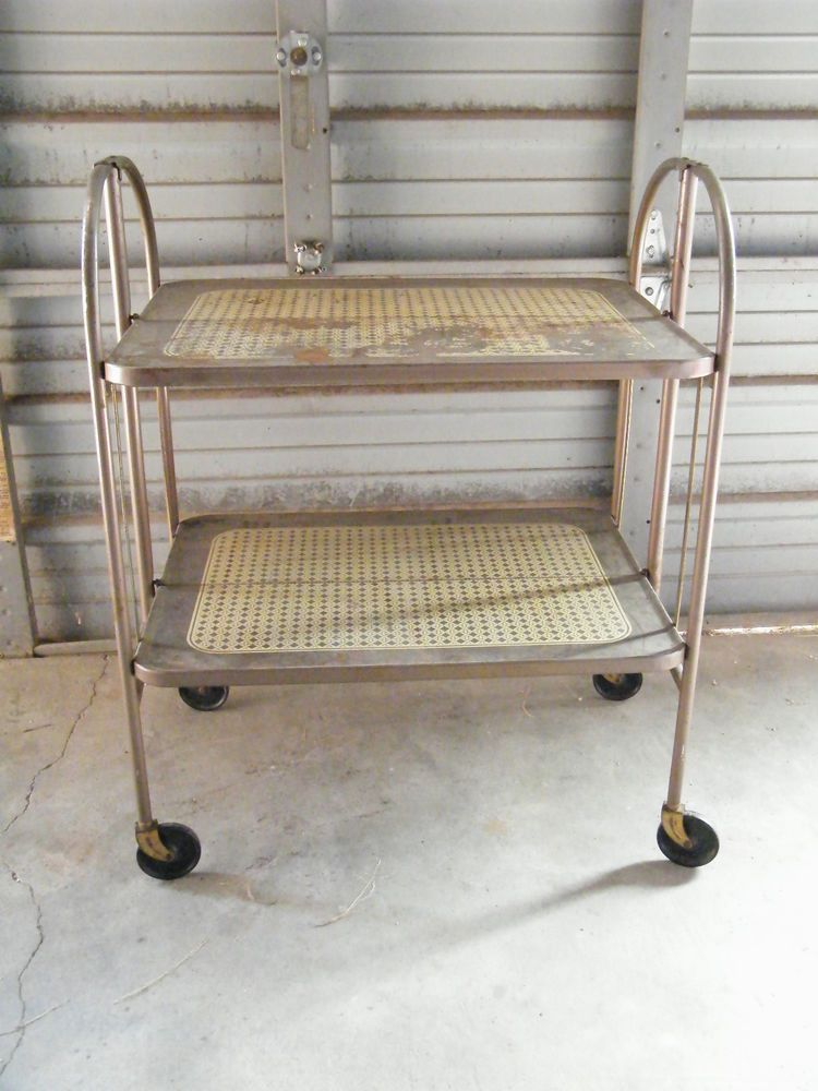 Vintage 2 Tier Folding Rolling Serving Cart Versa Table Stand On Casters Serving Cart Folding Bar Cart Bar Cart