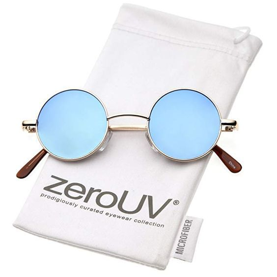 399021ba27d6 zeroUV - Retro Round Sunglasses for Men Women with Color Mirrored Lens John  Lennon Glasses (Gold Blue)