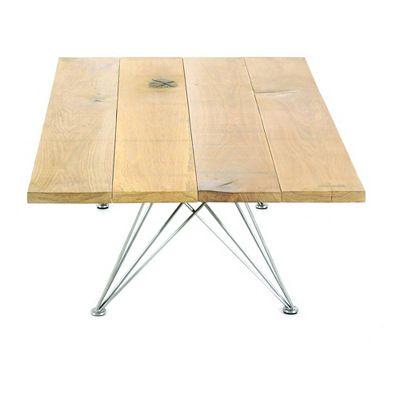 Table basse rectangulaire Zola Meubles Zago teck, chêne massif et