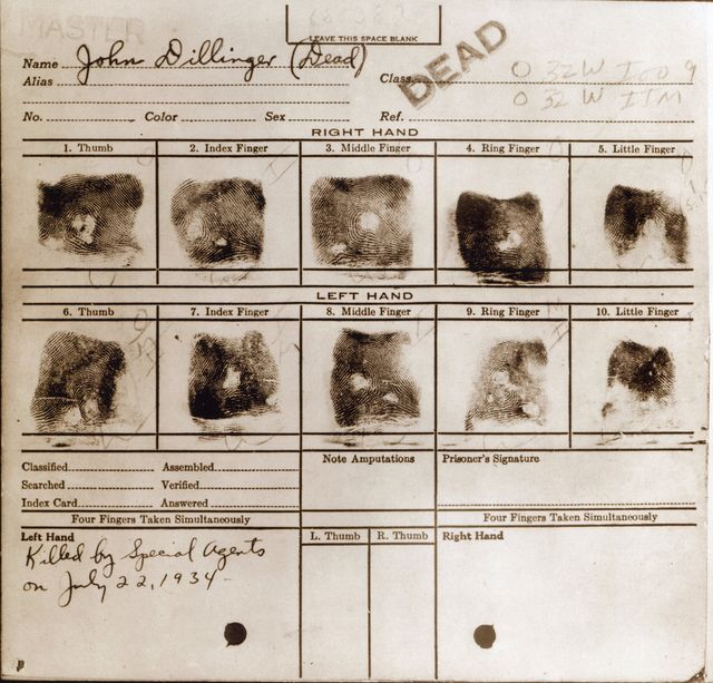 John Dillinger fingerprints wanted poster - criminal history - criminal wanted poster