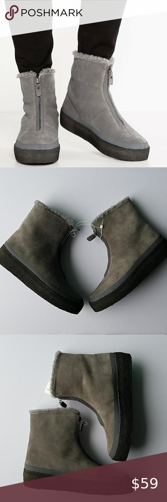 Clarks Jez Iglu Zip Gray Suede Wool Boots In 2020 Boots Clarks Gray Suede